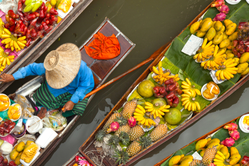 Floating Market and Thai Cultural at Rose Garden